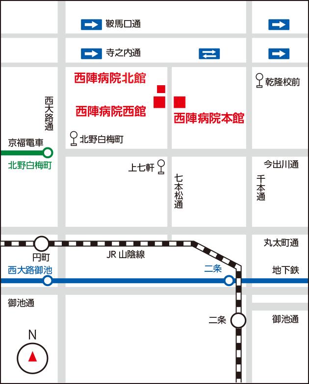 西陣病院、近隣地図